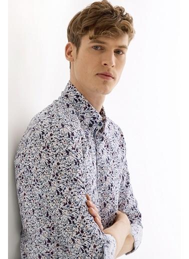 Avva Erkek  Çiçek Baskılı Alttan Britli Gömlek A01Y2134 Lacivert